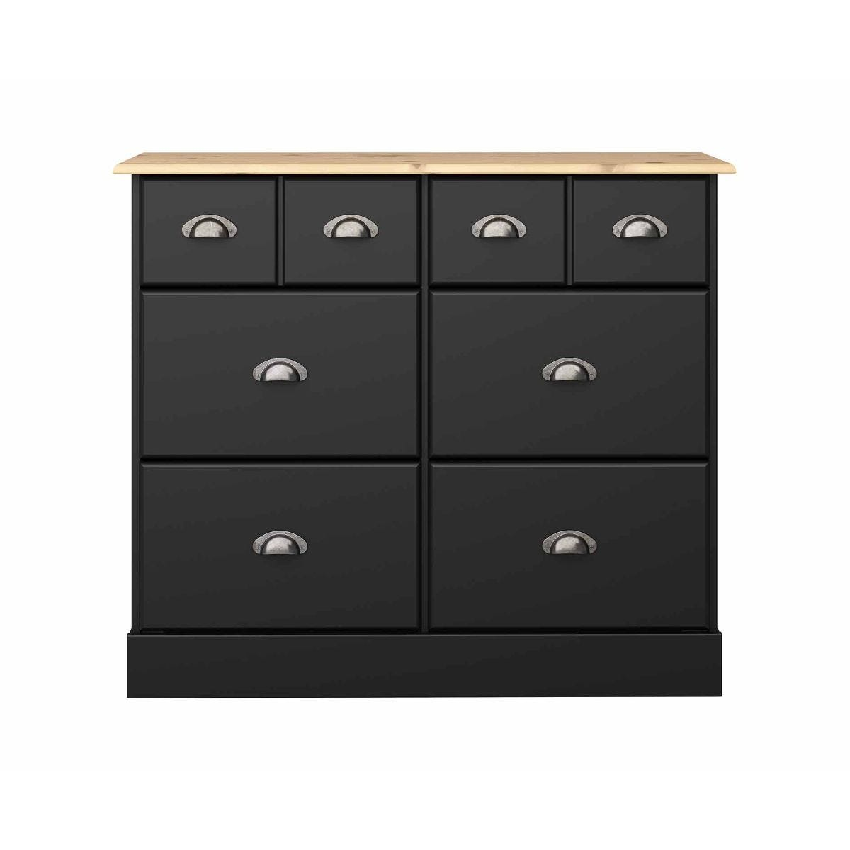 Steens Nola 4 Over 4 Wide Chest of Drawers, Black