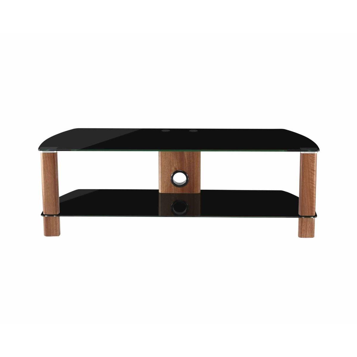 Alphason Century 1200 2 Shelf TV Stand Black Glass, Black