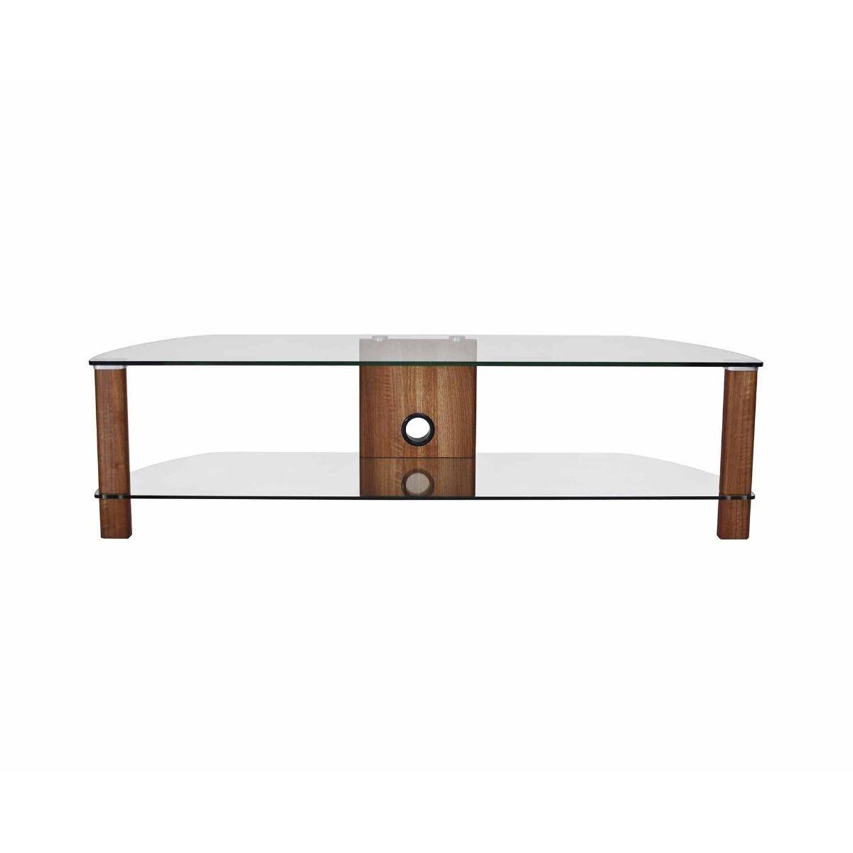 Alphason Century 1500 2 Shelf TV Stand Clear Glass, Walnut