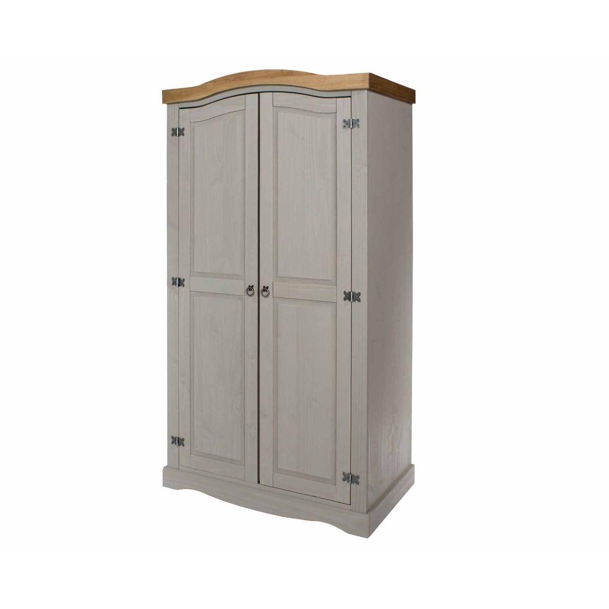 Corona Grey 2 Door Wardrobe, Grey