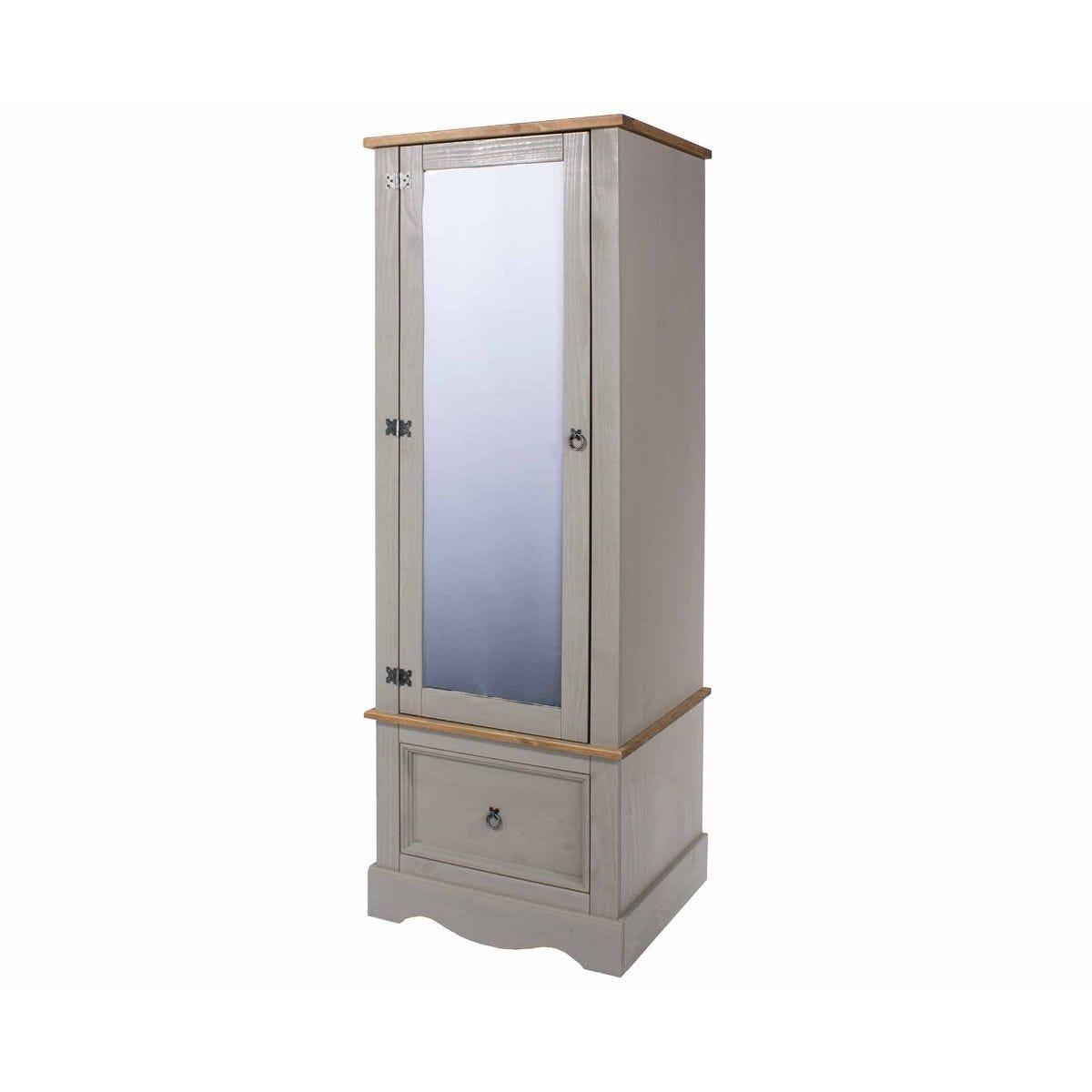 Corona Grey Wardrobe with Mirrored Door, Grey