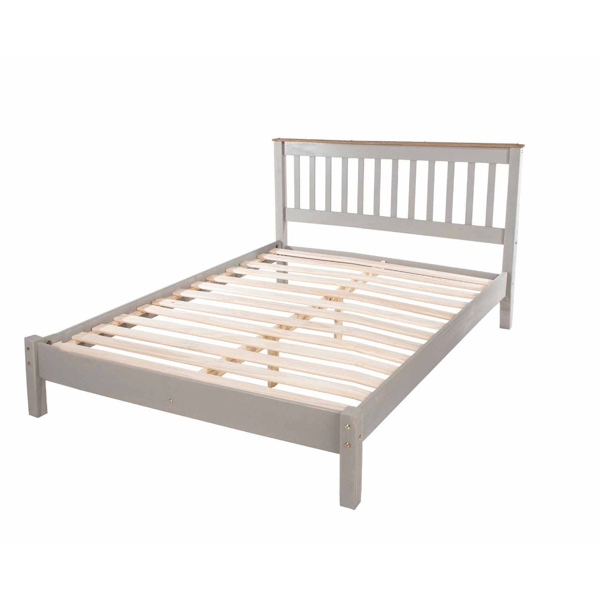 Corona Grey Wooden Slatted Double Bed Frame 4ft 6, Grey