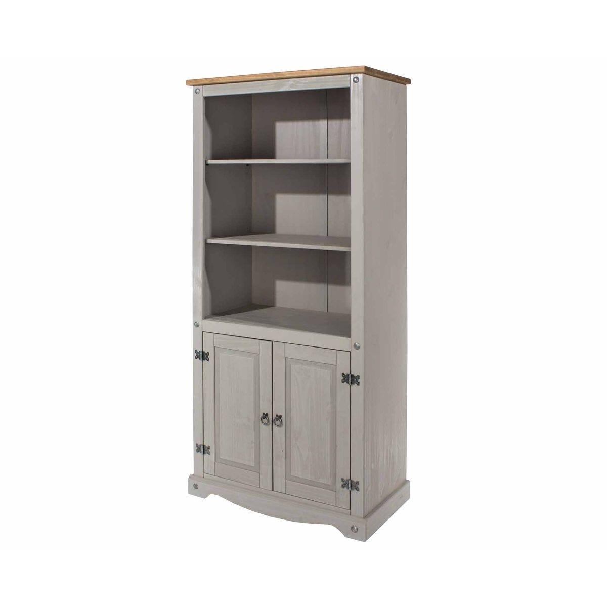 Corona Grey 2 Door Bookcase, Grey