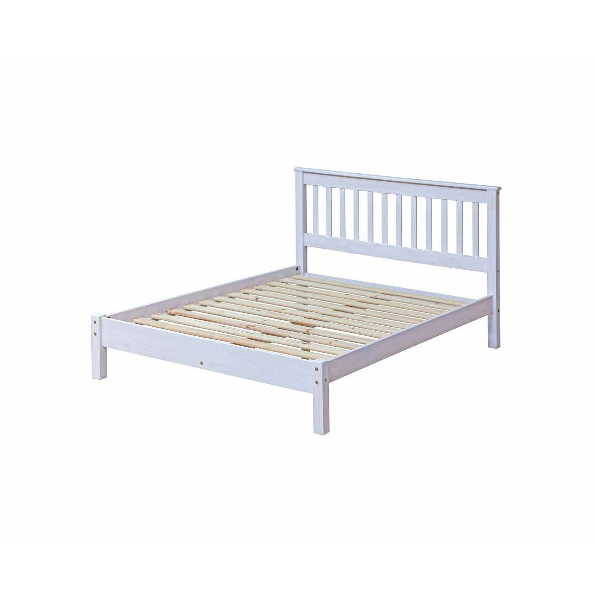 Corona White Wooden Slatted Double Bed Frame 4ft 6, White