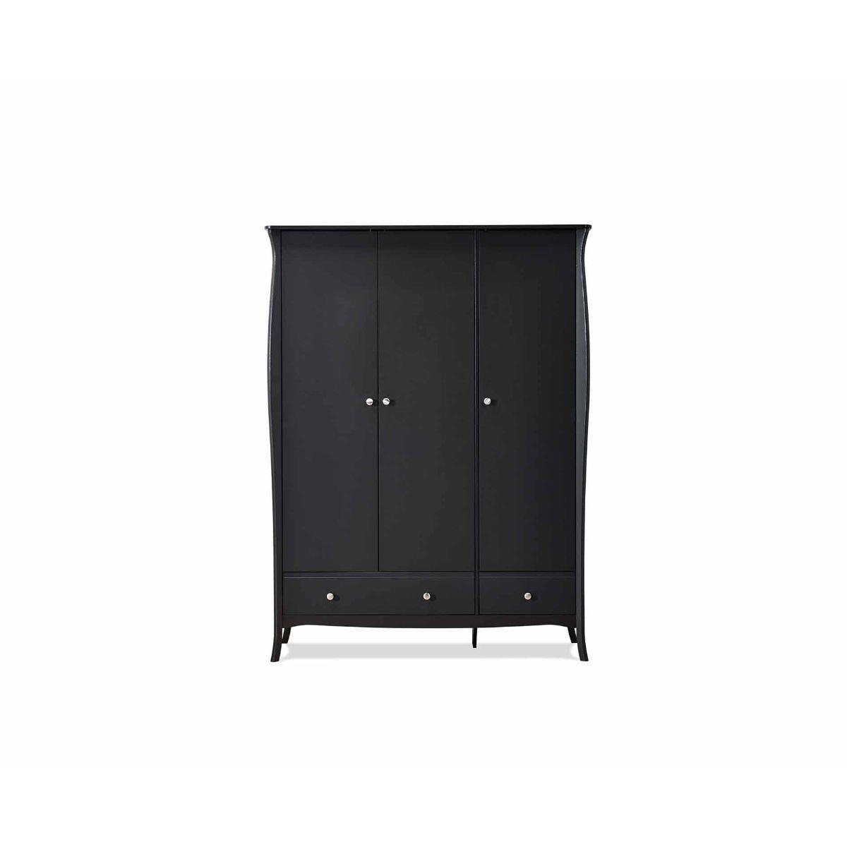 Steens Baroque 3 Door Wardrobe, Black