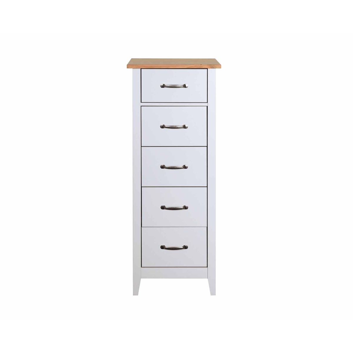 Steens Norfolk 5 Drawer Narrow Chest Grey and Pine, Grey / Pine