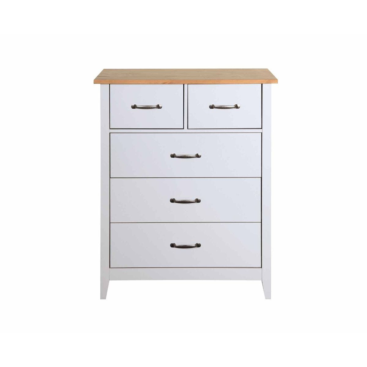 Steens Norfolk 2 Over 3 Drawer Chest Grey and Pine, Grey / Pine