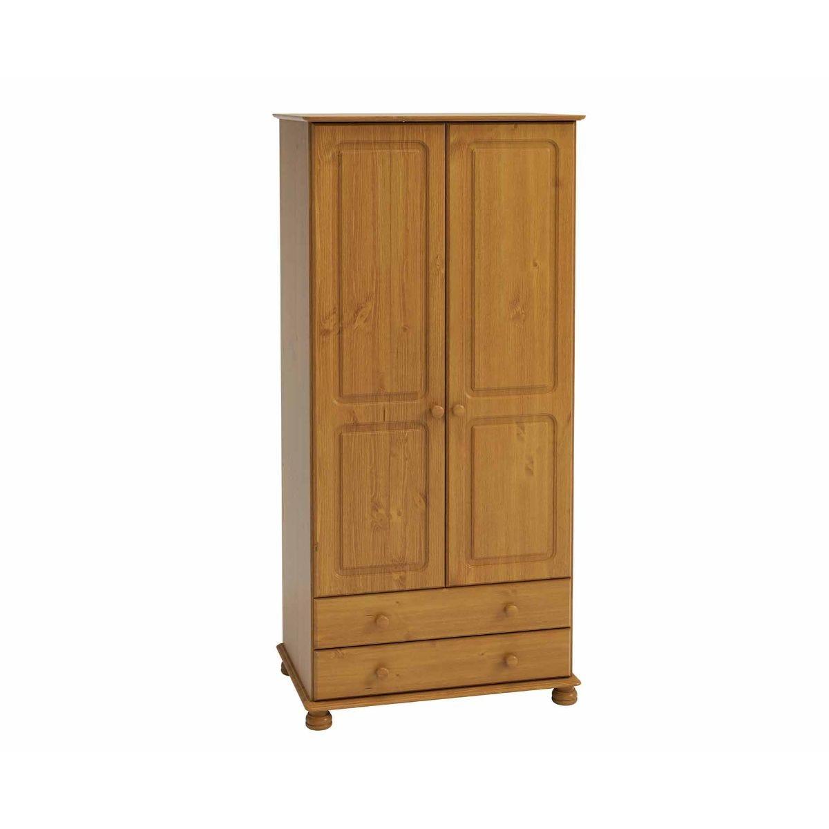 Steens Richmond 2 Door Over 2 Drawer Narrow Wardrobe, Pine