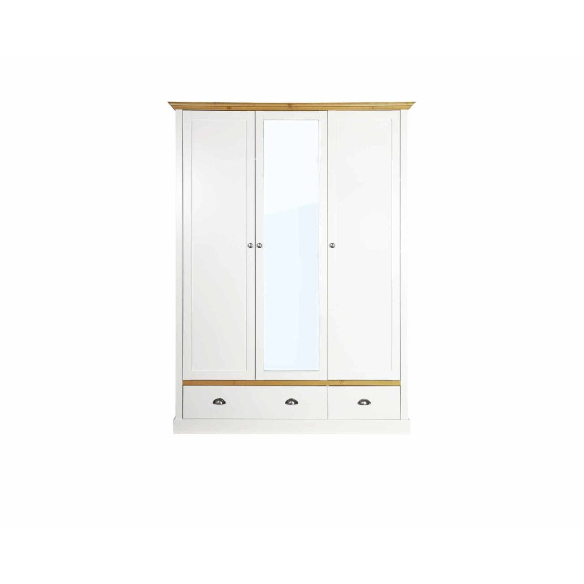 Steens Sandringham 3 Door 2 Drawer Mirrored Wardrobe, White