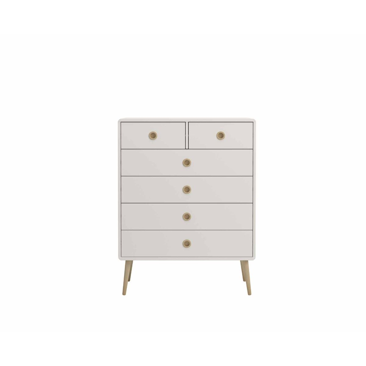 Steens Retro 2 Over 4 Chest of Drawers, White