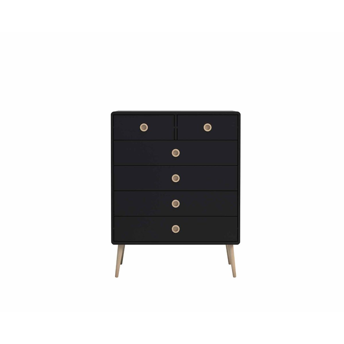 Steens Retro 2 Over 4 Chest of Drawers, Black