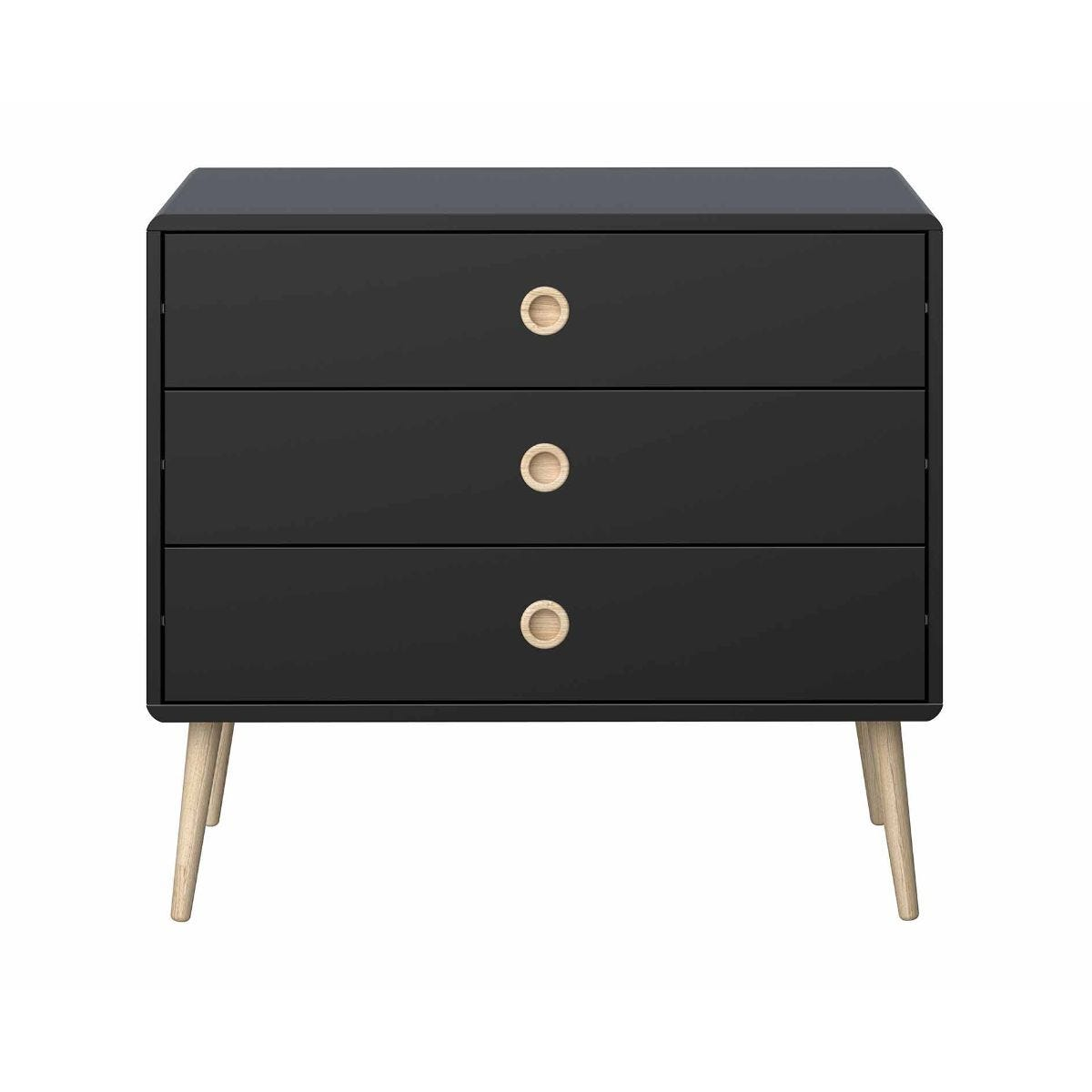 Steens Retro 3 Drawer Wide Chest of Drawers, Black