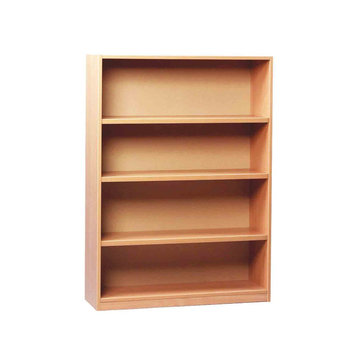 Open Bookcase 1250mm With 1 Fixed and 2 Adjustable Shelves, Beech