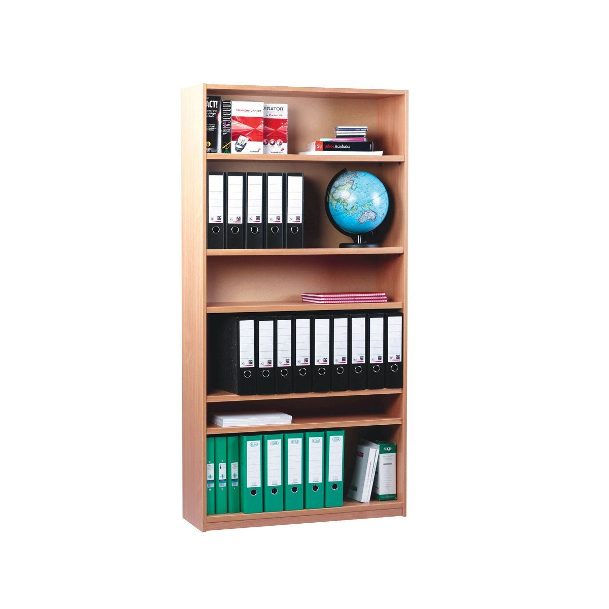 Open Bookcase 1500mm With 1 Fixed and 4 Adjustable Shelves, Beech