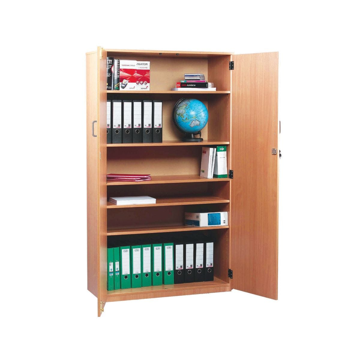 Storage Cupboard 1818mm with 1 Fixed and 4 Adjustable Shelves, Beech