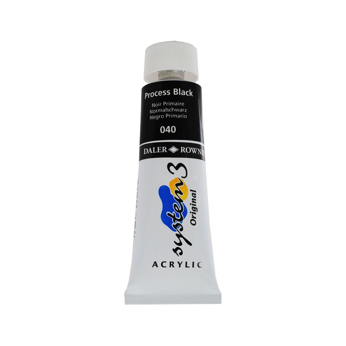 Daler Rowney System 3 Process Black Acrylic Colour 75ml, Process Black.