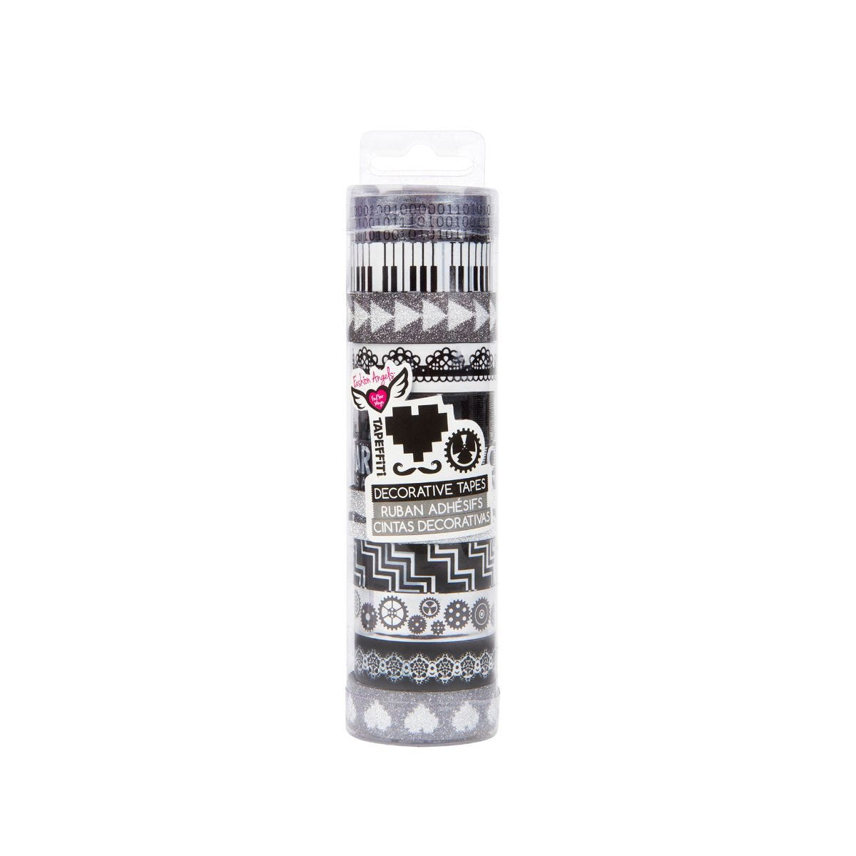 fashion angels tapeffiti tube black and white pack of 11 tapes, black/white