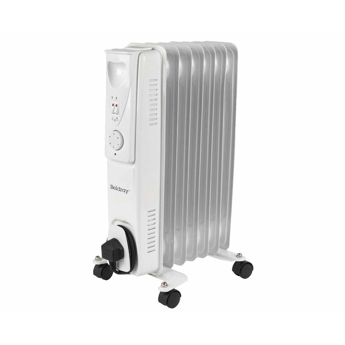 beldray 7 fin portable oil filled radiator 1500w