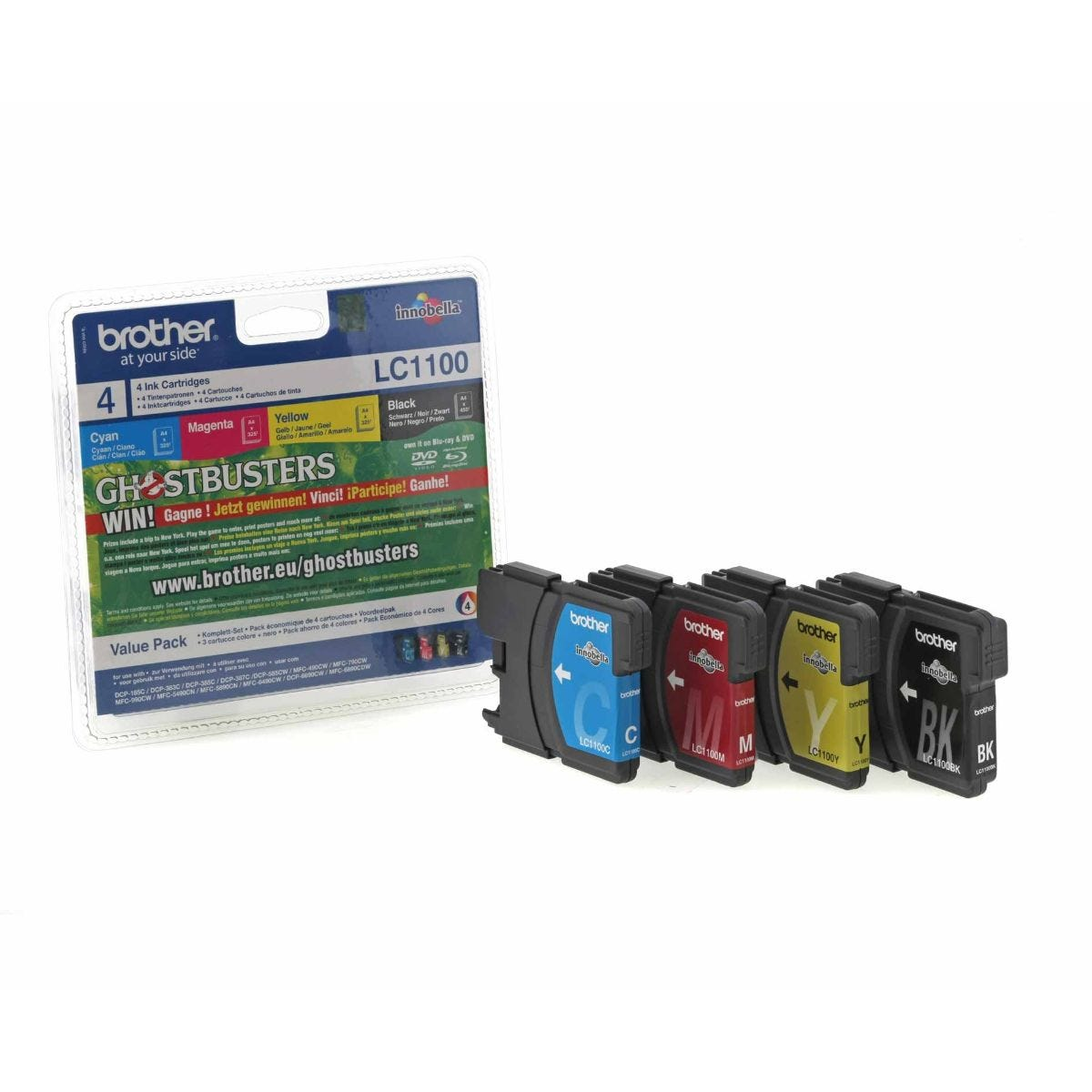 Image of Brother LC1100 Inkjet Cartridge Value Pack of 4, Assorted