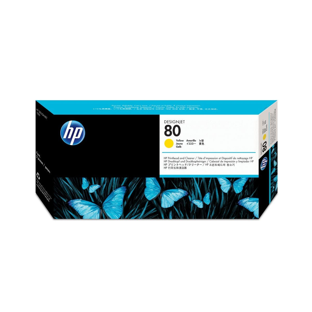 Image of HP 80 Printhead plus Cleaner Ink Yellow, Yellow