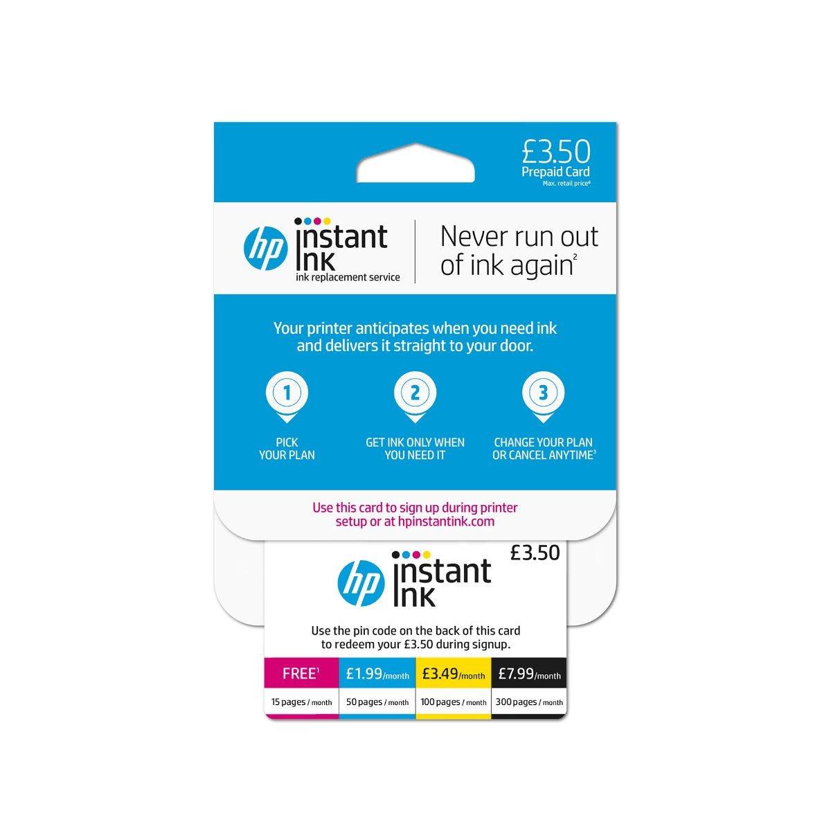 Image of HP Instant Ink Enrolment Card