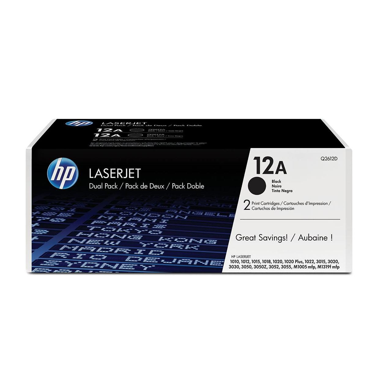 Image of HP 12A Dual Pack Toners Black Q2612AD, Black