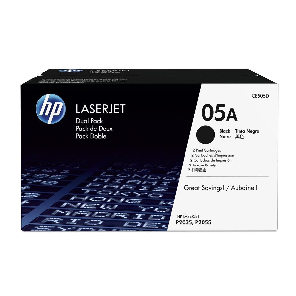 Image of HP 05A Dual Pack Toners Black CE505D, Black