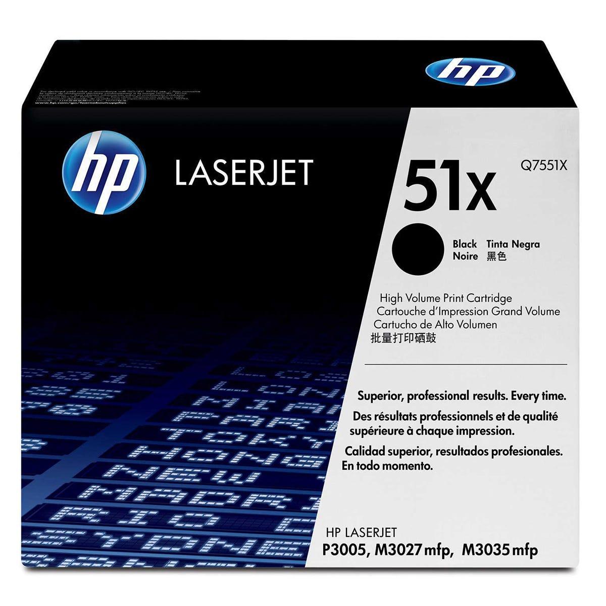 Image of HP No51X High Yield Laser Ink Toner Cartridge, Black