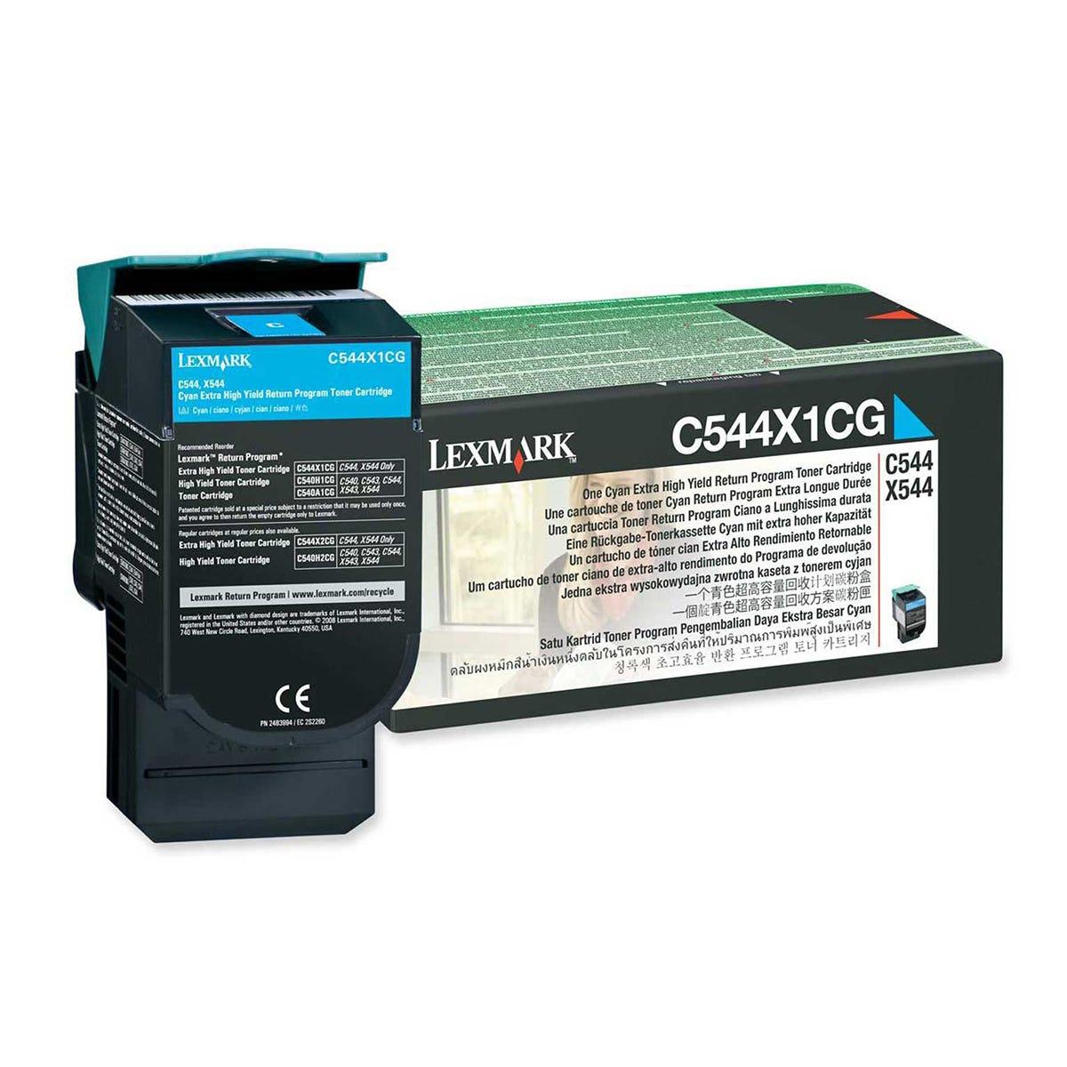 Image of Lexmark C544X1CG Toner Cartridge Extra High Yield, Cyan