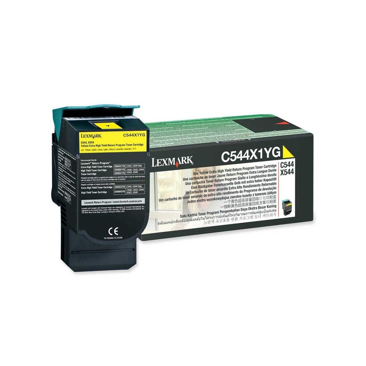Lexmark C544X1YG Toner Cartridge Extra High Yield, Yellow.