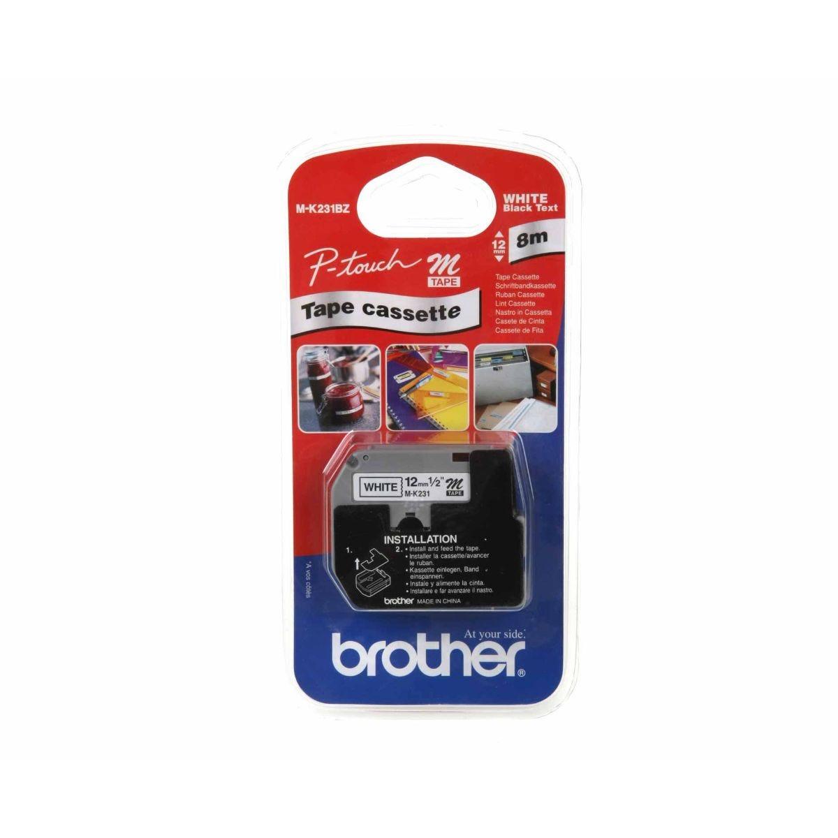 Brother PT65 Tape 12mm, Black/White