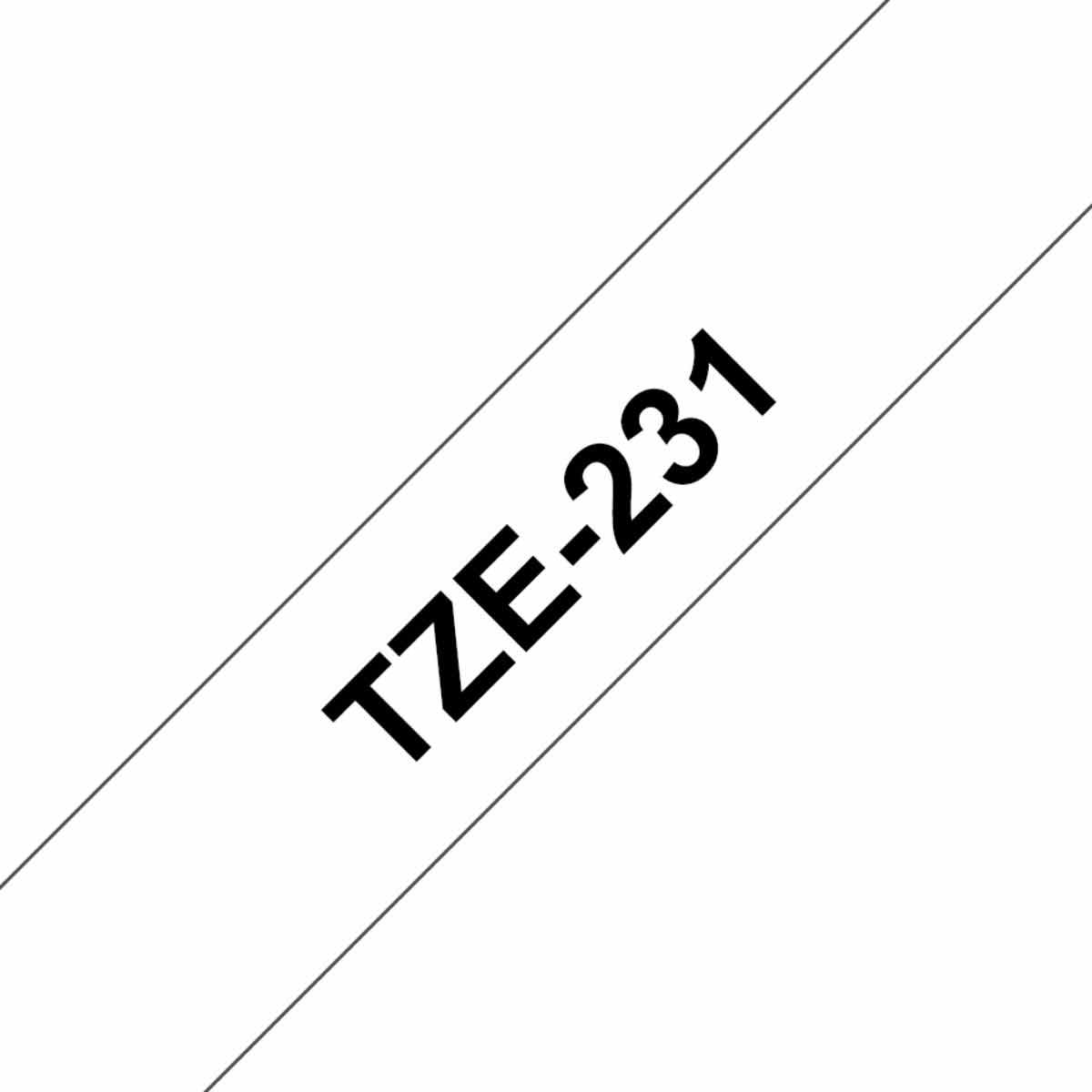 Brother TZ231 Labeller Tapes 12mm, Black/White