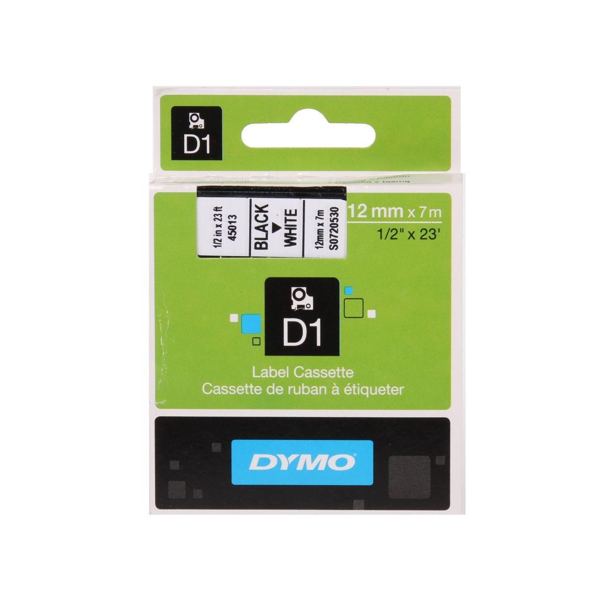 Dymo D1 1000 Tape 12mm Black on White, Black/White