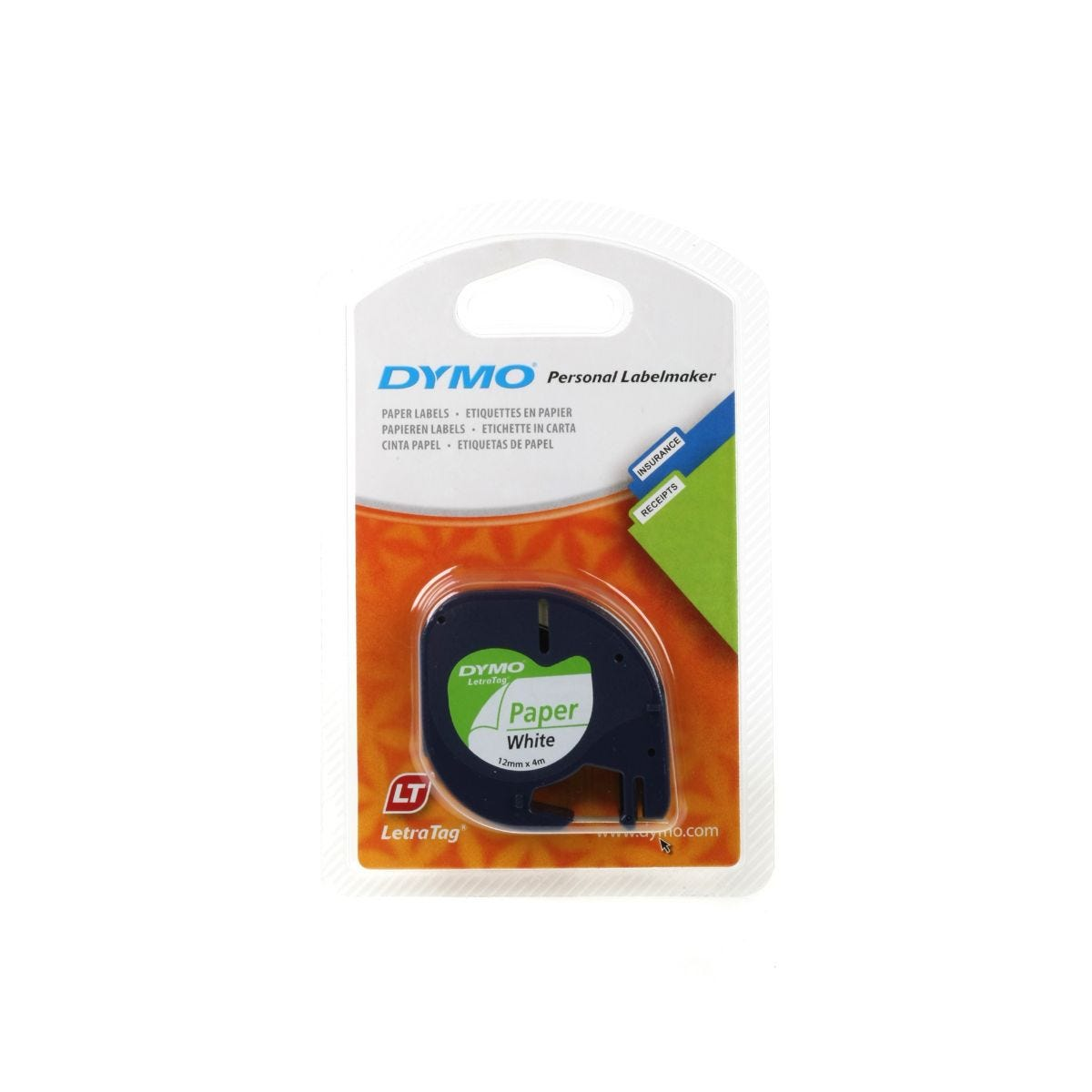 Dymo Letratag Tape 12mm x 4m Paper, White Paper
