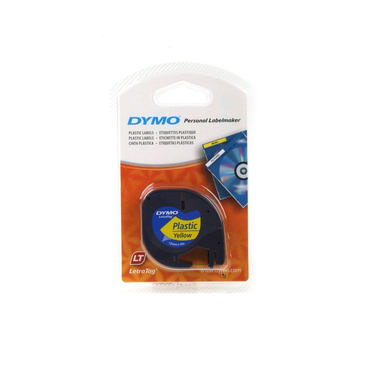 Dymo Letratag Tape 12mm x 4m Plastic, Yellow