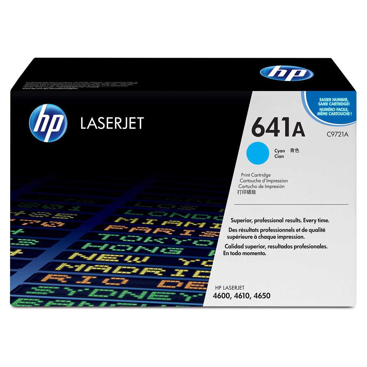 Image of HP 641A Laserjet Printer Ink Toner Cartridge C9721A, Cyan