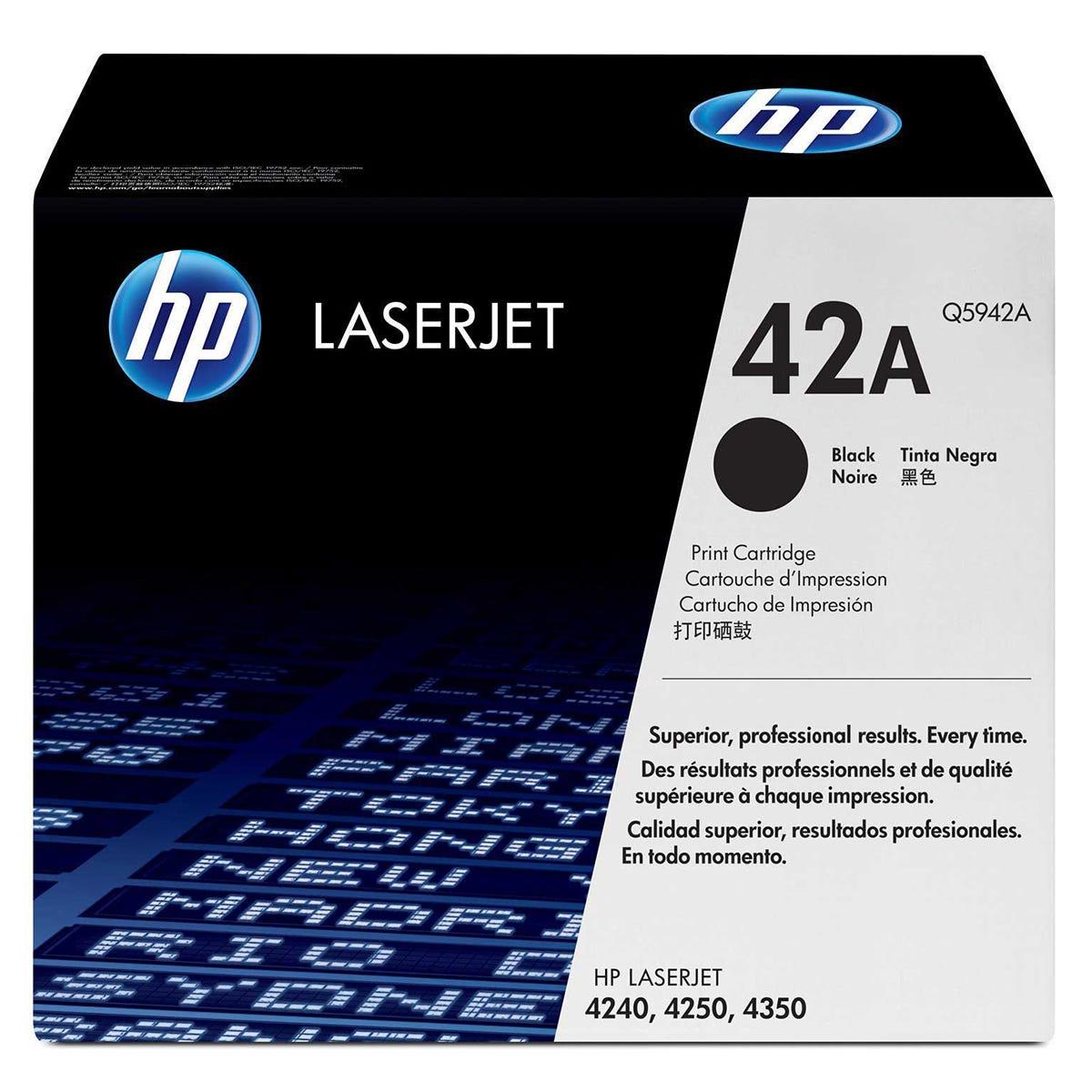 Image of HP 42A Laserjet Printer Ink Toner Cartridge Q5942A, Black