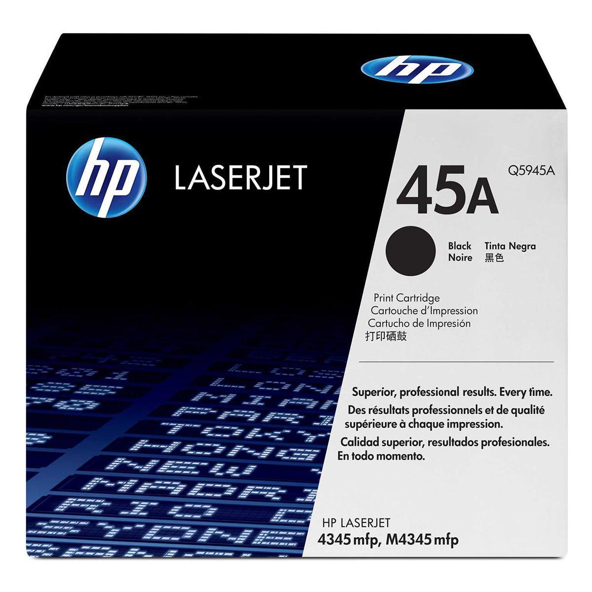 Image of HP 45A Laserjet Printer Ink Toner Cartridge, Black