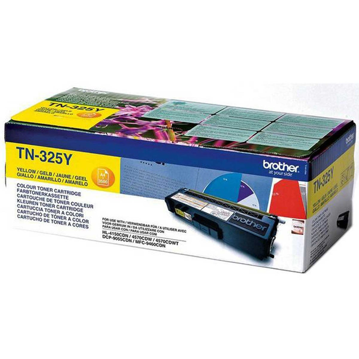 Brother TN325Y High Yield Colour Laser Ink Toner Cartridge, Yellow