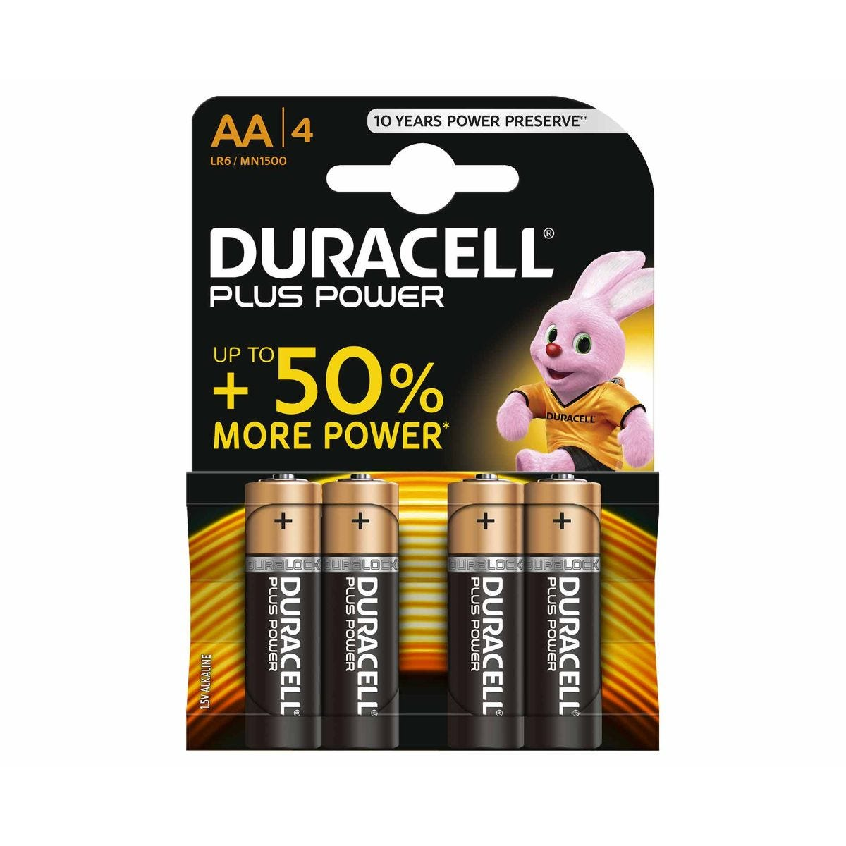 Image of Duracell Duralock Plus Power AA Pack of 4