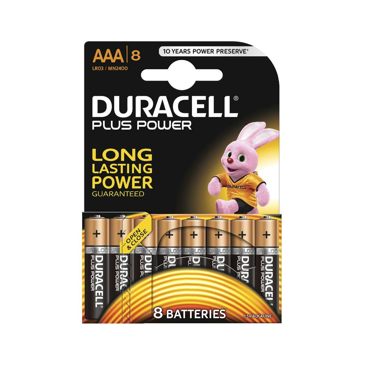 Image of Duracell Duralock Plus Power AAA Pack of 8