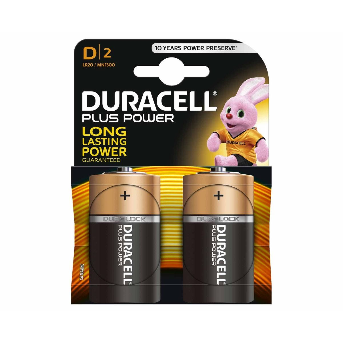 Image of Duracell Duralock Plus Batteries D Alkaline Pack of 2