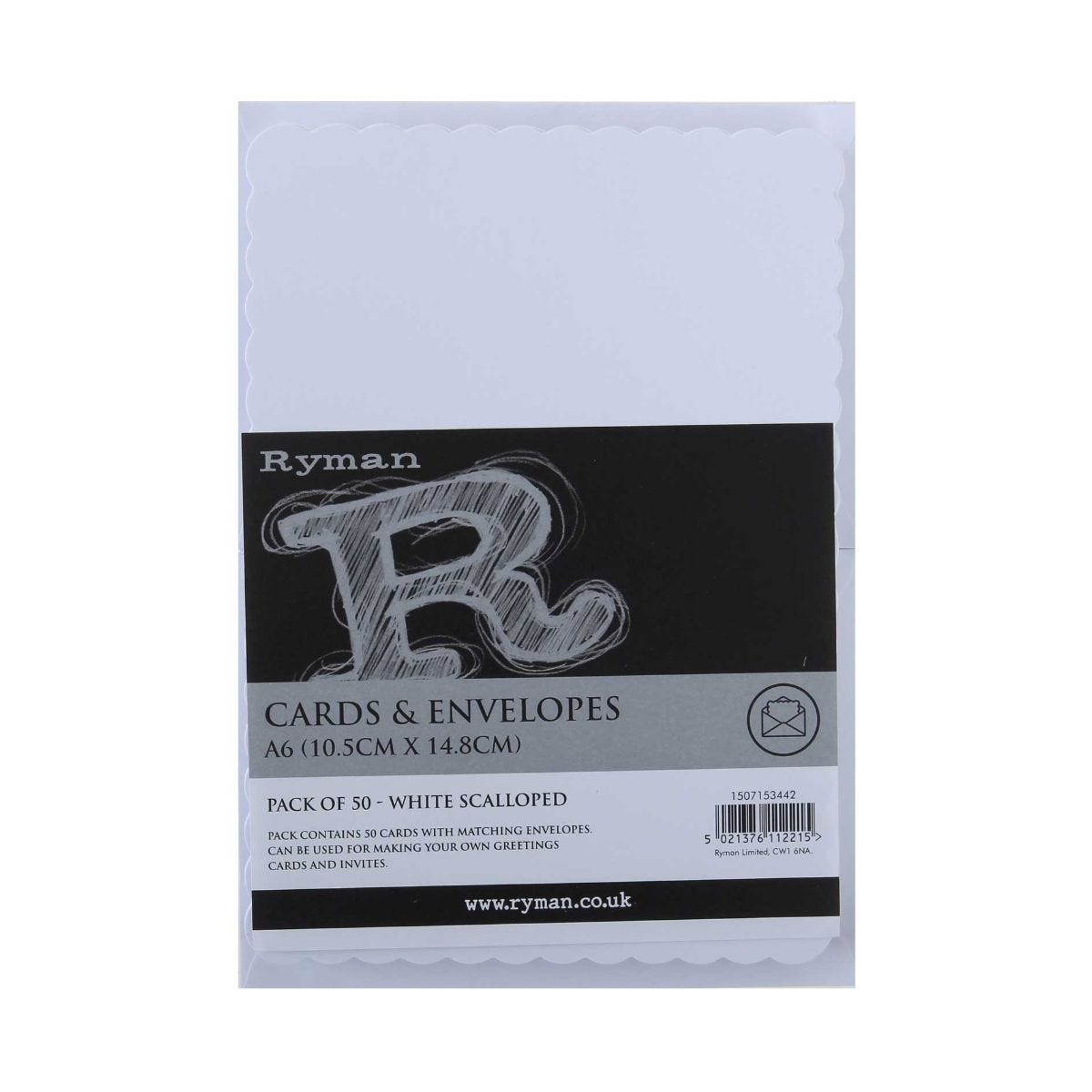 Ryman Cards and envelopes Scalloped A6 250gsm Pack of 50, White.
