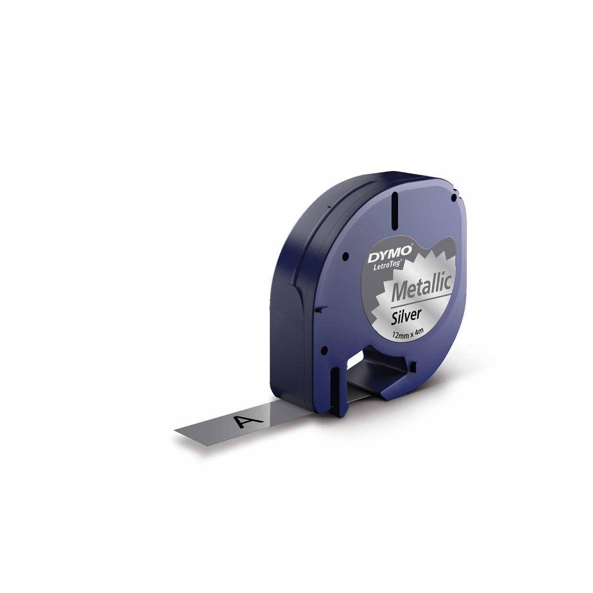 Dymo LetraTag Tapes Metallic Silver 12mmx4m