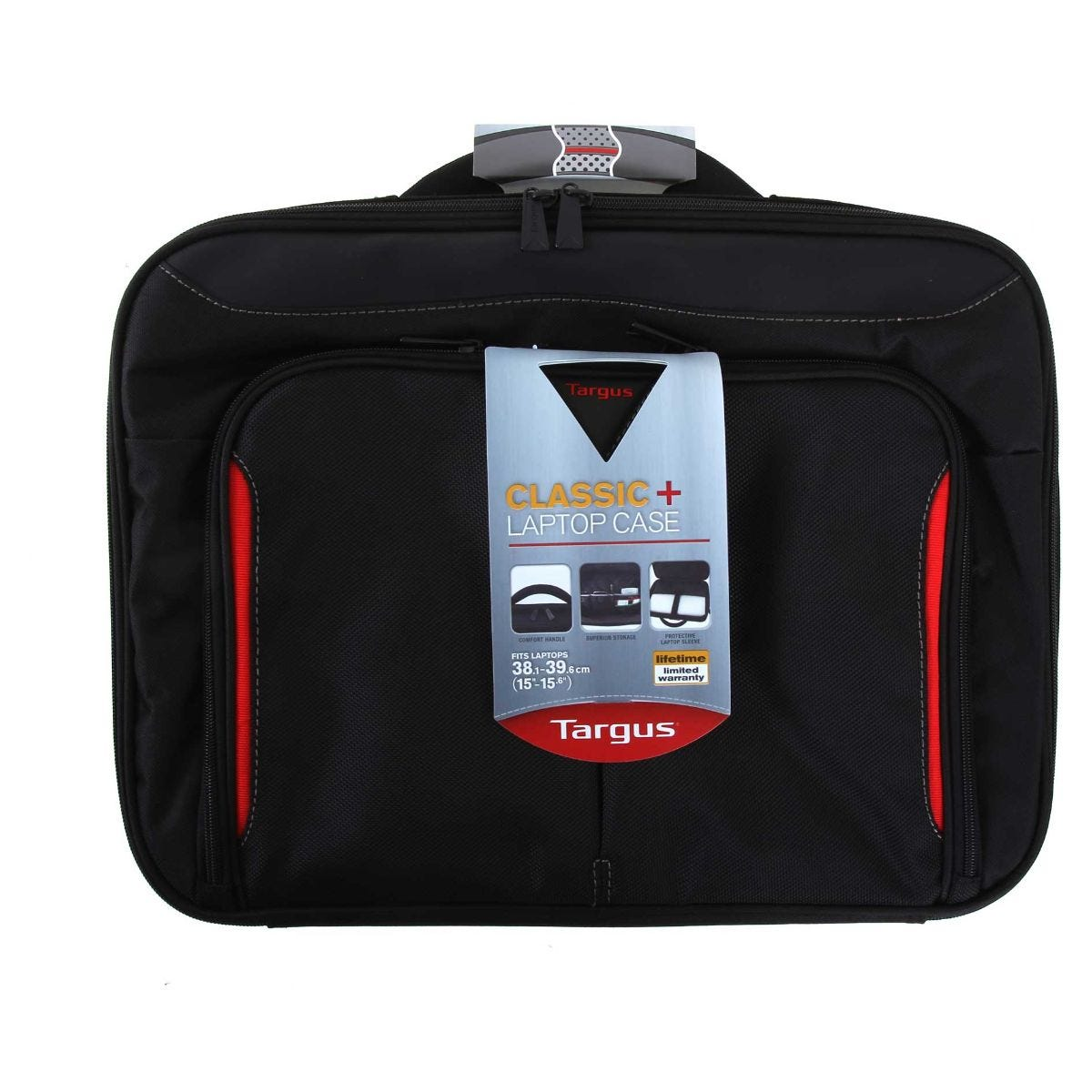 Image of Targus Classic Plus Clamshell Laptop Bag 15-15.6 Inch, Blk/Red