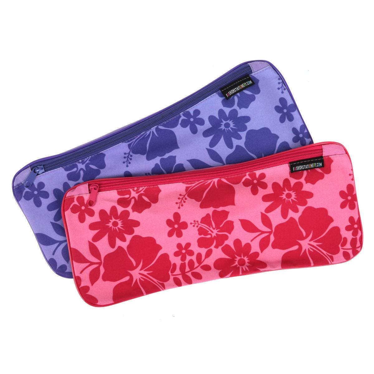 Image of 13x5 Inch Hibiscus Flat Pencil Case Assorted Colours, Pink/Purple
