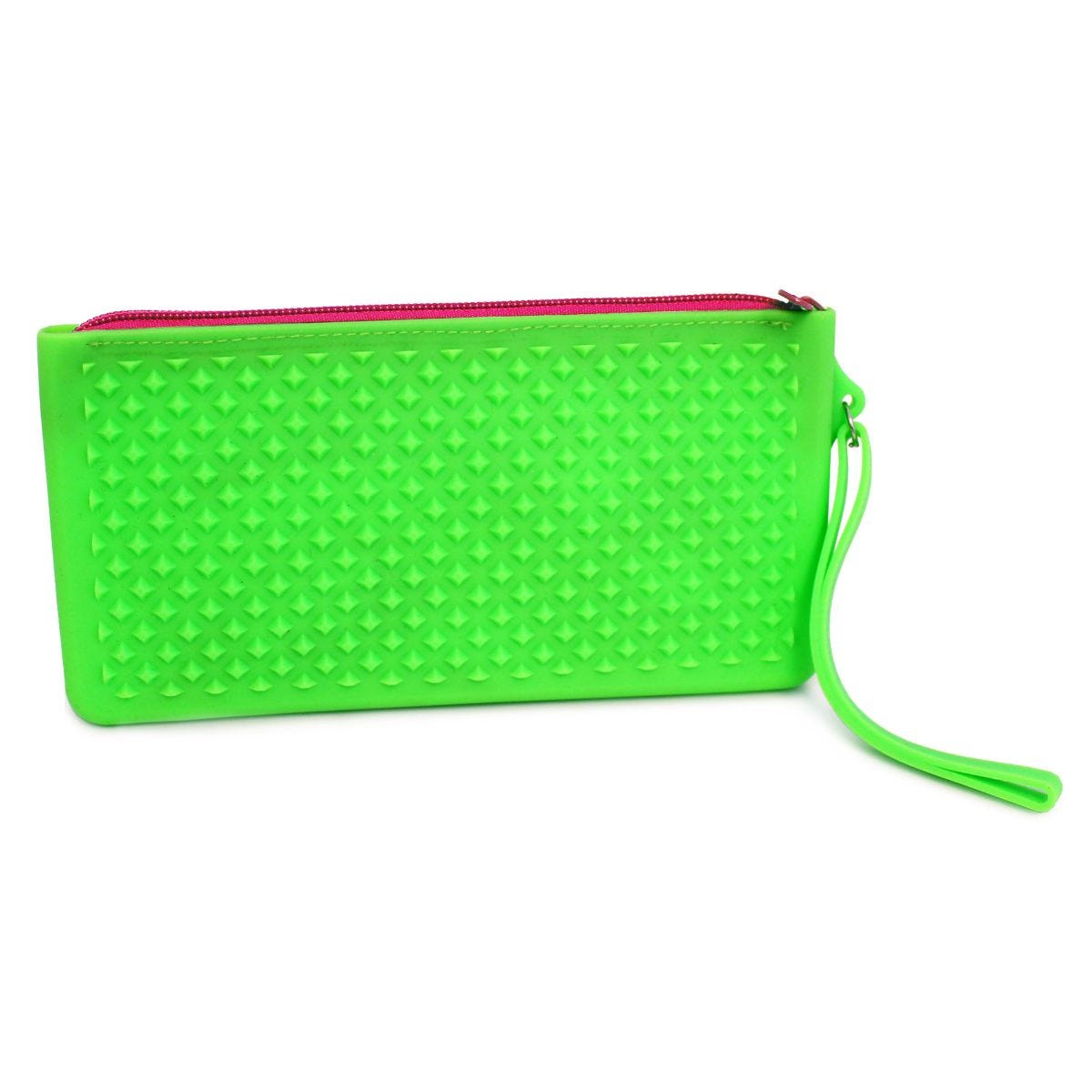 Image of Silicone Flat Neon Pencil Case Assorted Colours, Green/Pink