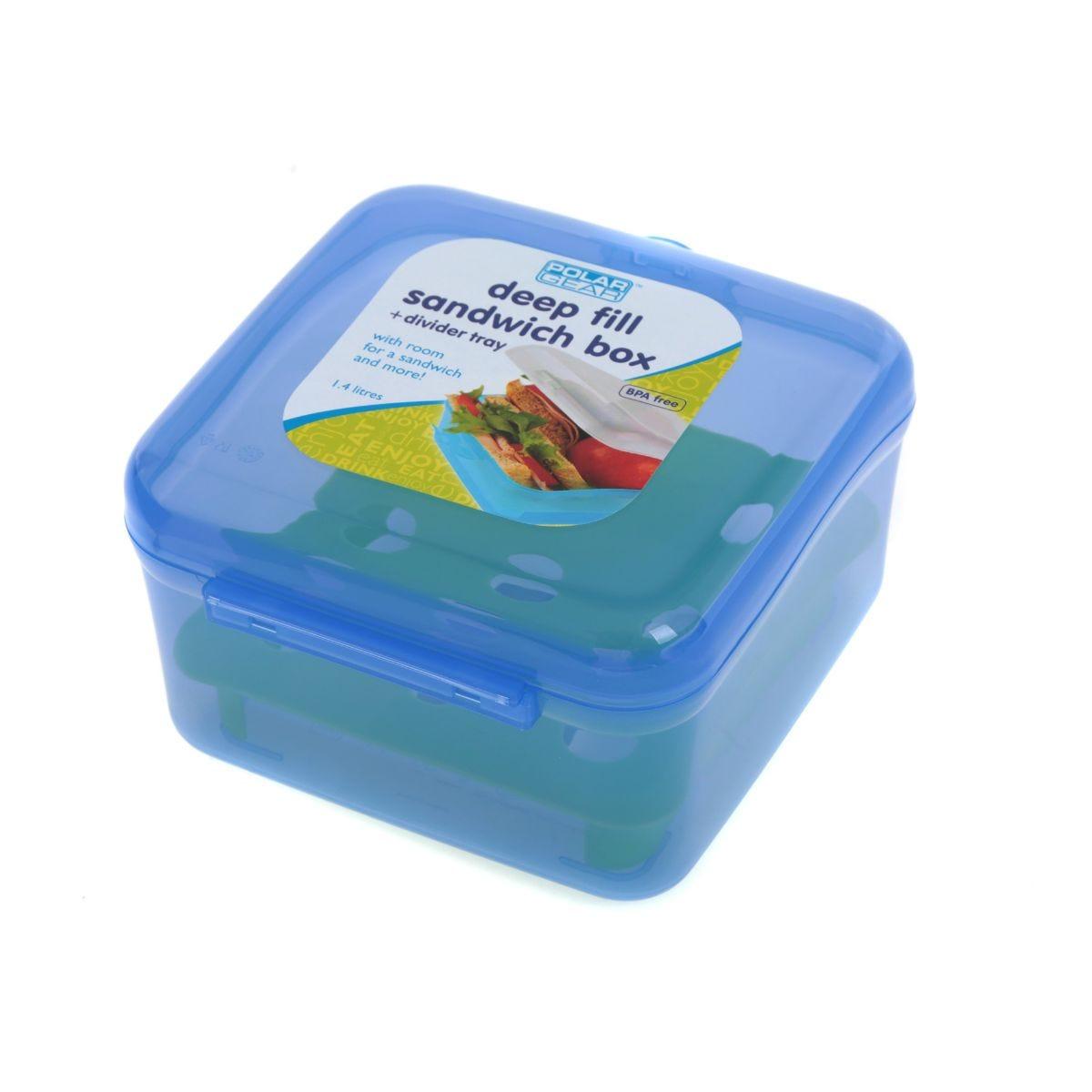 Polar Gear Sandwich Box Deep Fill 1.4Litre Blue and Green, Blue/Green.