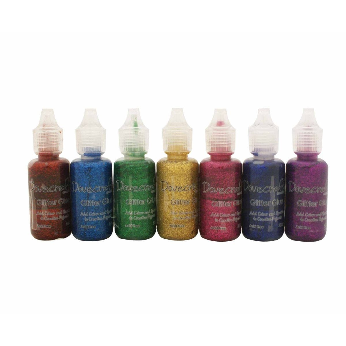 Dovecraft Glitter Glue Brights Assorted 20ml