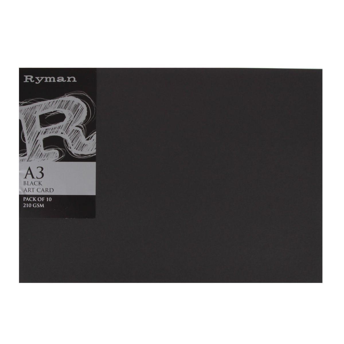 Ryman Art Card A3 210gsm Pack of 10, Black